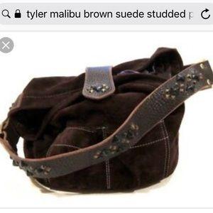 Tyler Malibu brown suede studded bucket purse 12x8
